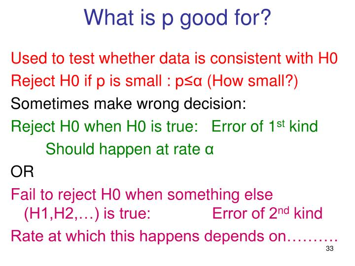 What is p good for?