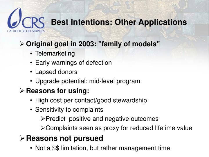 Best Intentions: Other Applications