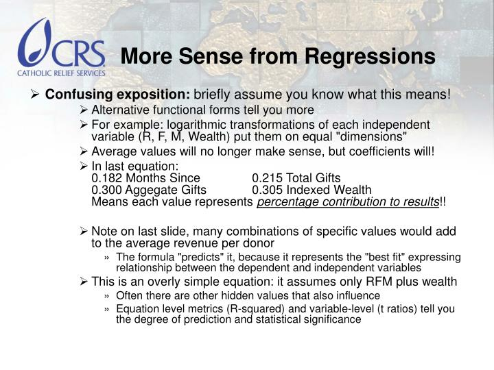 More Sense from Regressions