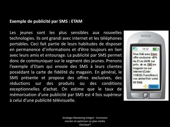 Exemple de publicité par SMS: ETAM
