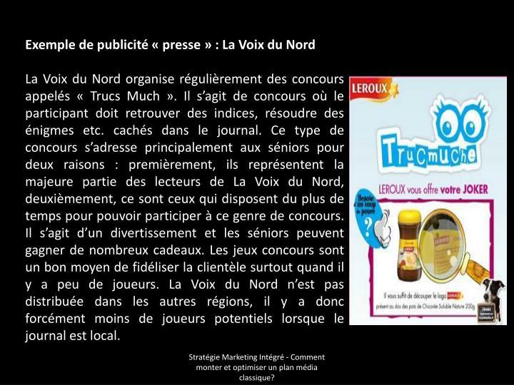 Exemple de publicité «presse»: La Voix du Nord