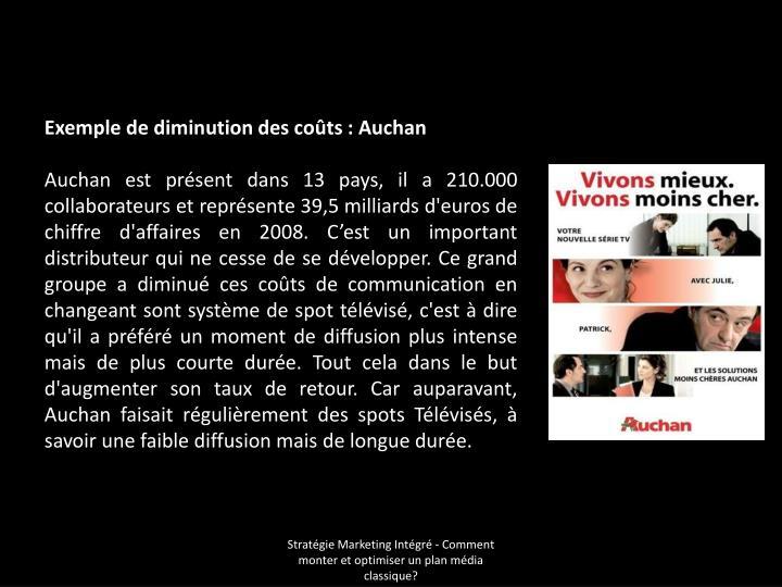 Exemple de diminution des coûts: Auchan