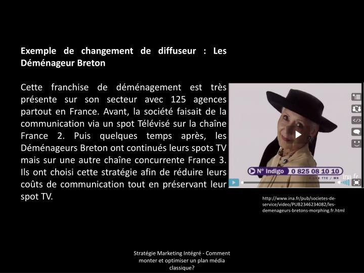 Exemple de changement de diffuseur: Les Déménageur Breton