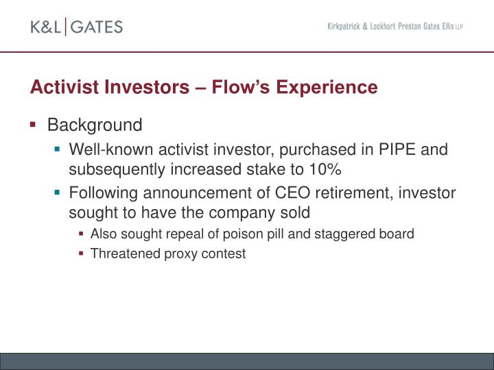 Activist Investors – Flow's Experience