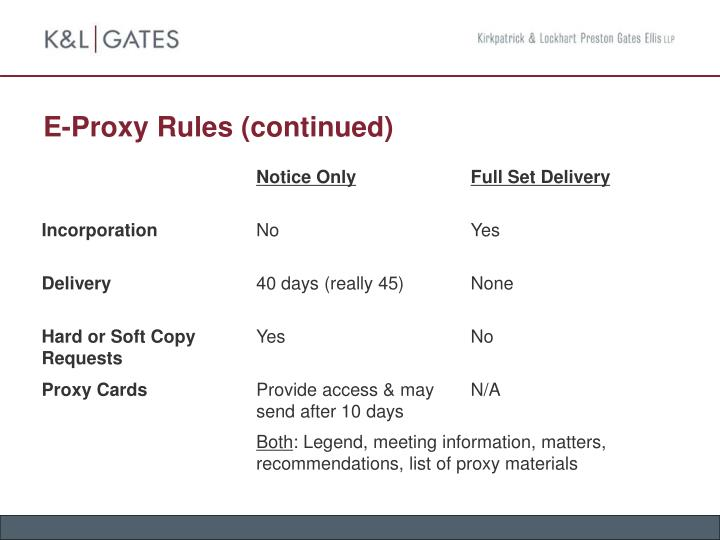 E-Proxy Rules (continued)