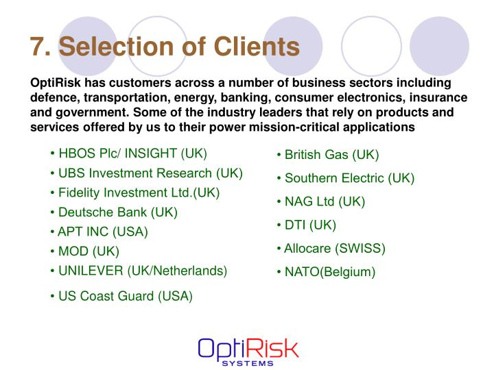 7. Selection of Clients