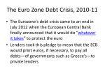the euro zone debt crisis 2010 1110