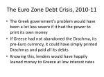 the euro zone debt crisis 2010 1111