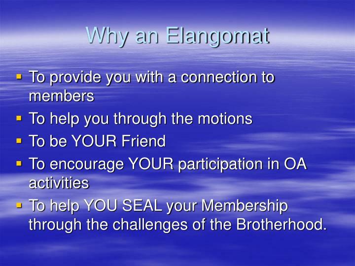 Why an Elangomat