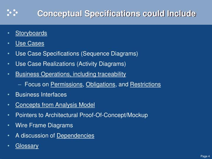 Conceptual Specifications could Include