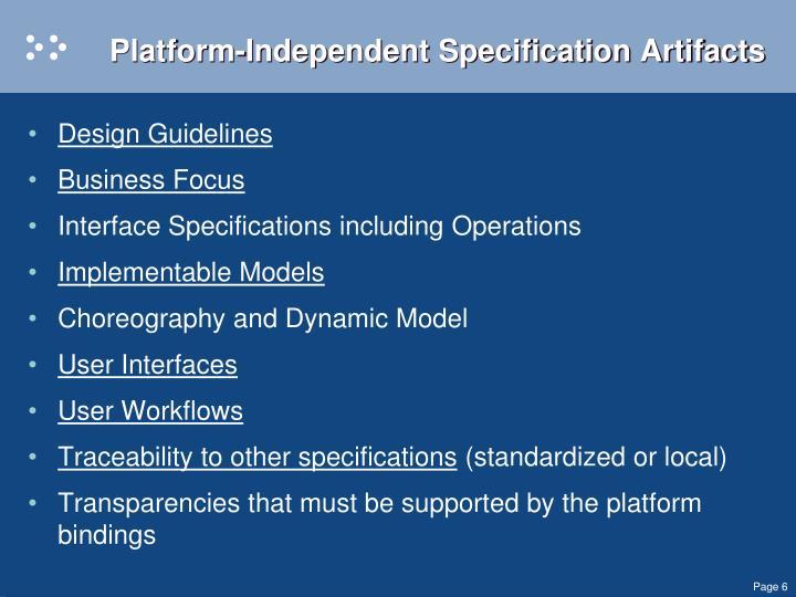 Platform-Independent Specification Artifacts