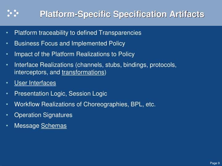 Platform-Specific Specification Artifacts