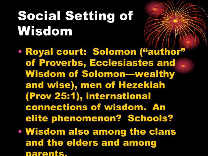 Social Setting of Wisdom