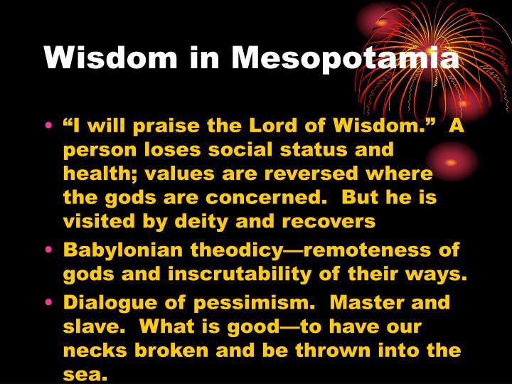 Wisdom in Mesopotamia