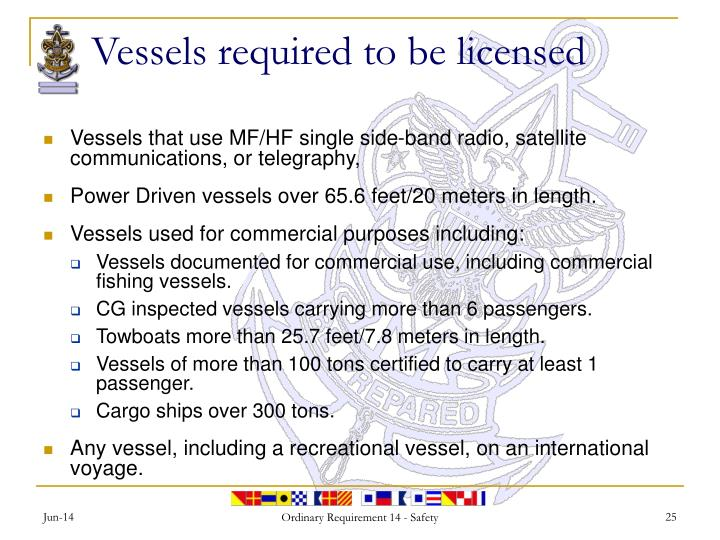 Vessels required to be licensed