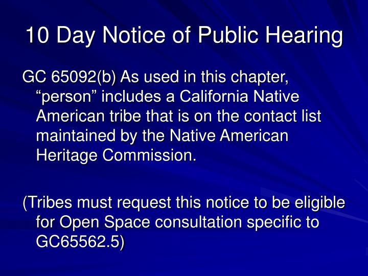 10 Day Notice of Public Hearing