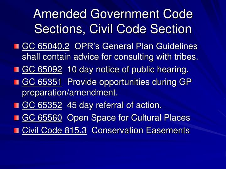 Amended Government Code Sections, Civil Code Section