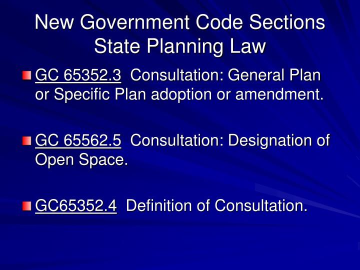 New Government Code Sections State Planning Law