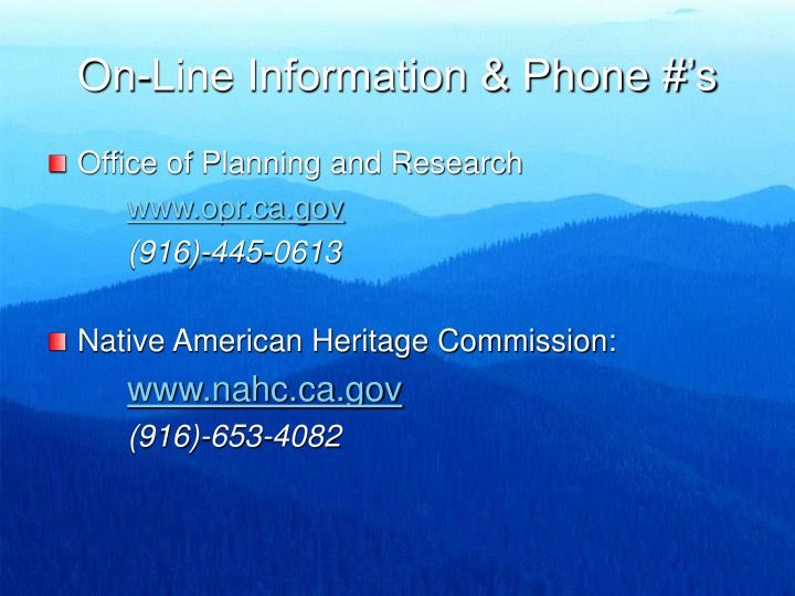 On-Line Information & Phone #'s