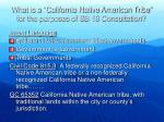 what is a california native american tribe for the purposes of sb 18 consultation