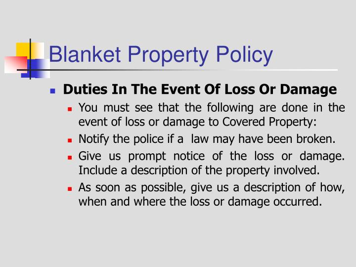 Blanket Property Policy