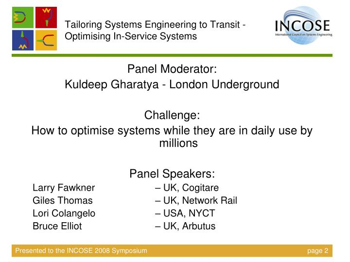 Tailoring Systems Engineering to Transit - Optimising In-Service Systems
