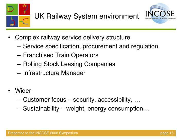 UK Railway System environment