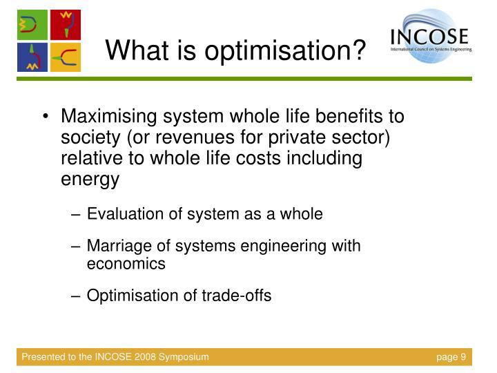 What is optimisation?