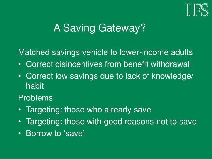 A Saving Gateway?