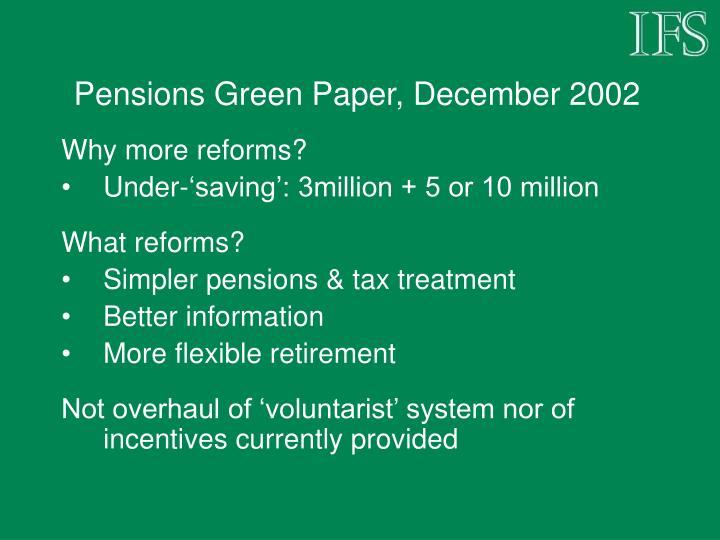 Pensions Green Paper, December 2002