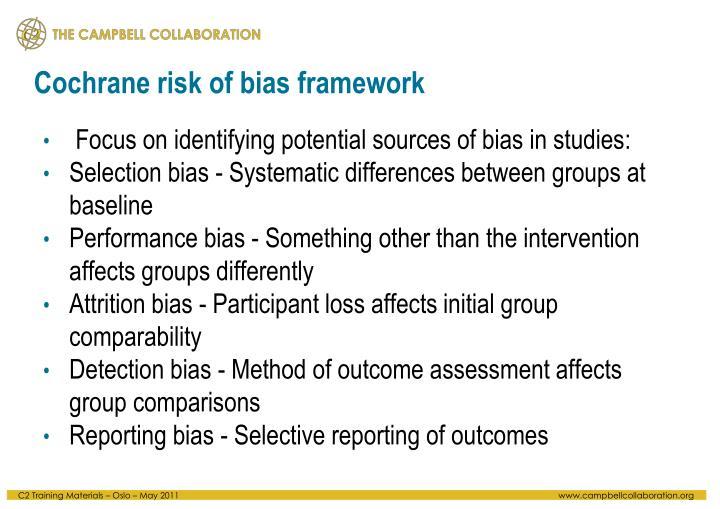 Cochrane risk of bias framework