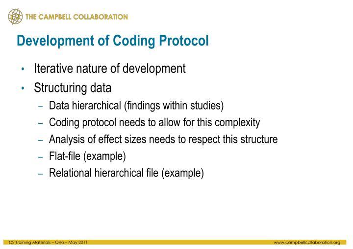 Development of Coding Protocol
