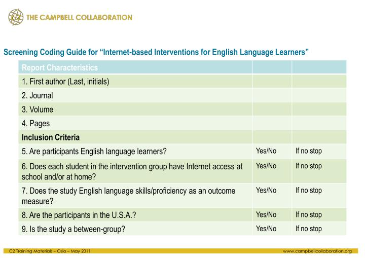 "Screening Coding Guide for ""Internet-based Interventions for English Language Learners"""