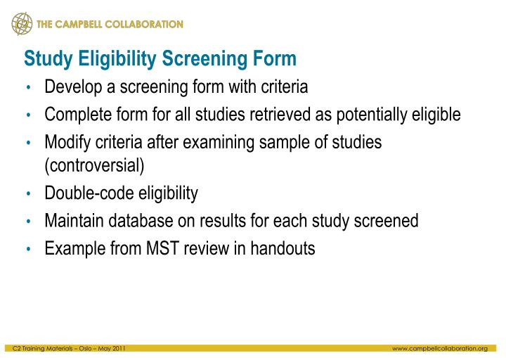 Study Eligibility Screening Form