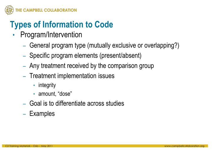 Types of Information to Code