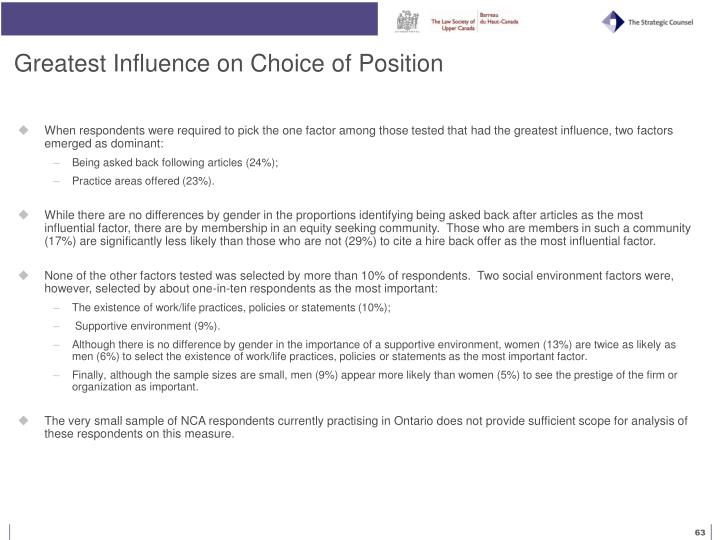 Greatest Influence on Choice of Position