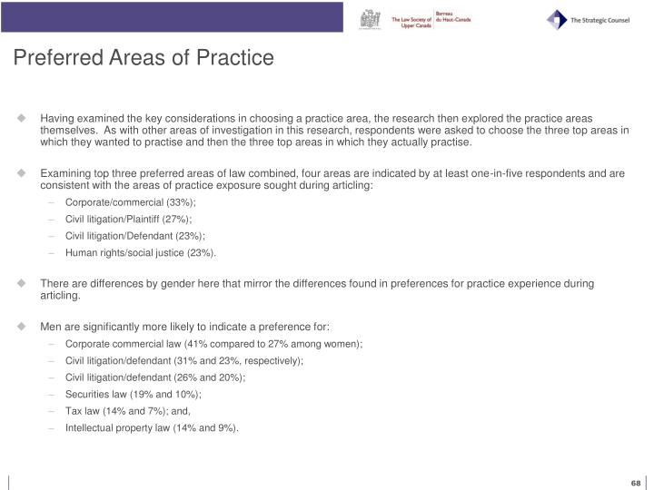 Preferred Areas of Practice