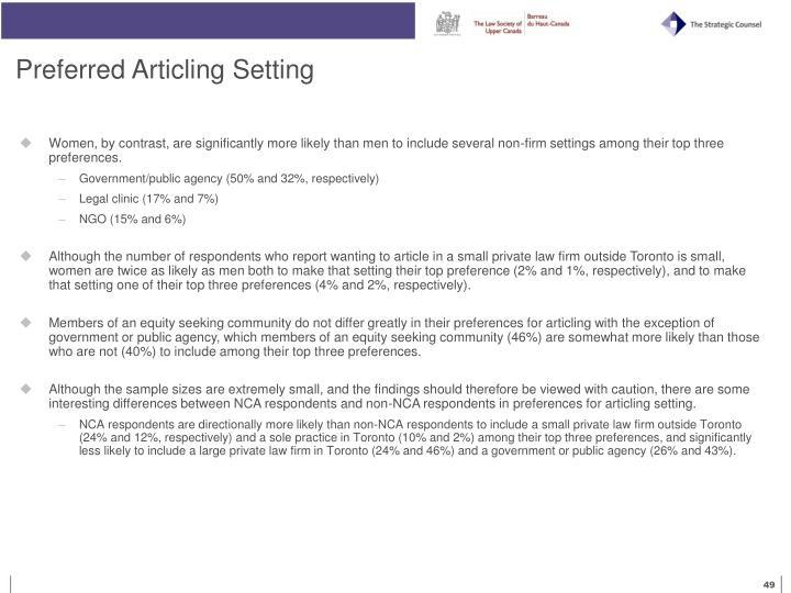 Preferred Articling Setting