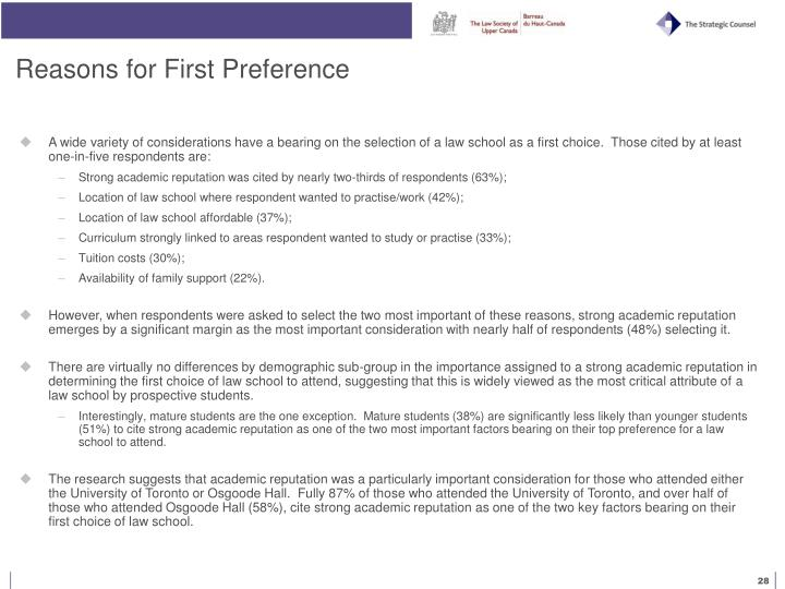 Reasons for First Preference