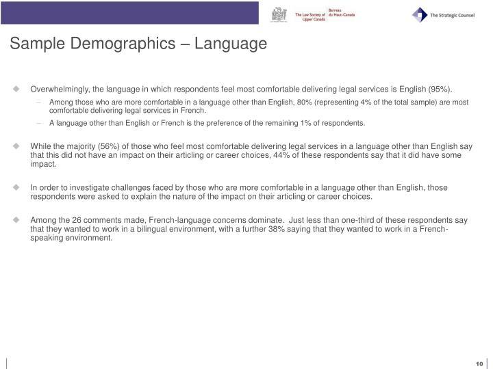 Sample Demographics – Language