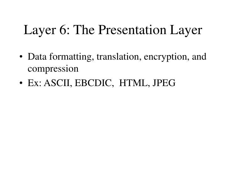 Layer 6: The Presentation Layer