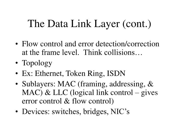 The Data Link Layer (cont.)