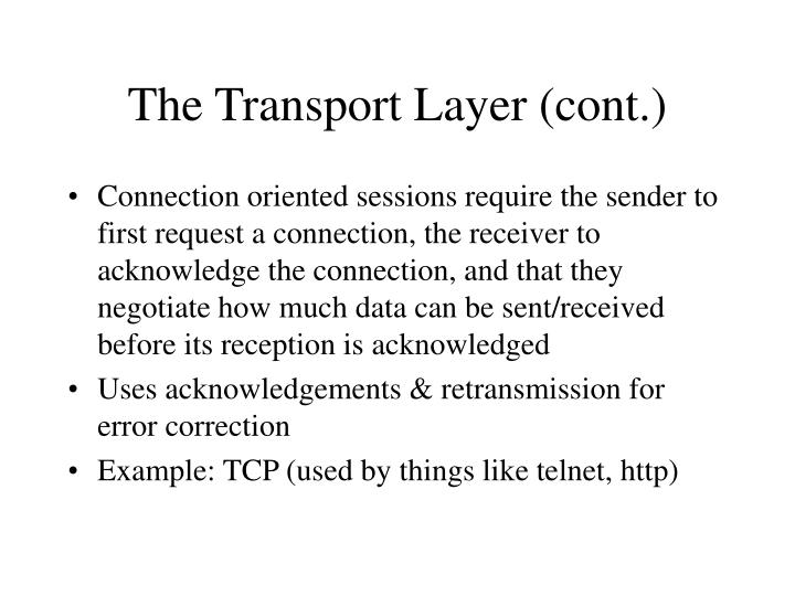 The Transport Layer (cont.)