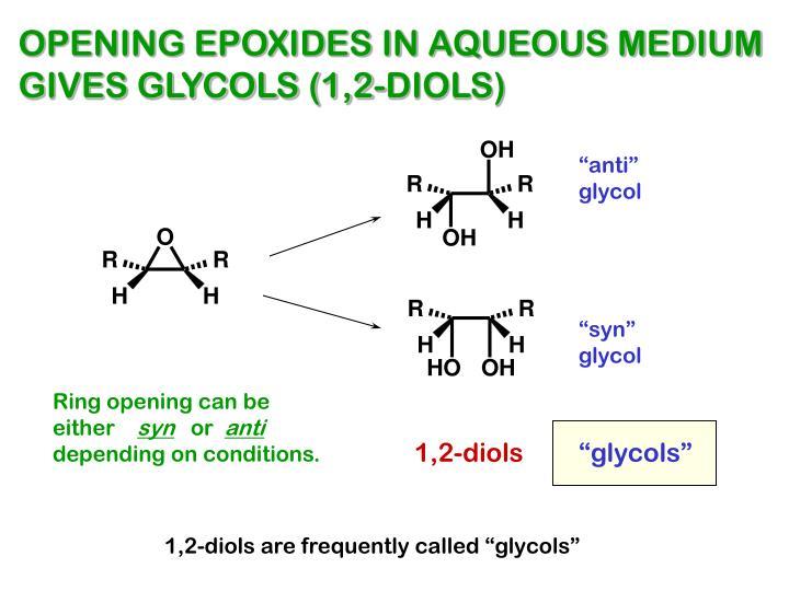 OPENING EPOXIDES IN AQUEOUS MEDIUM