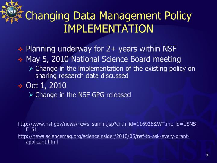 Changing Data Management Policy