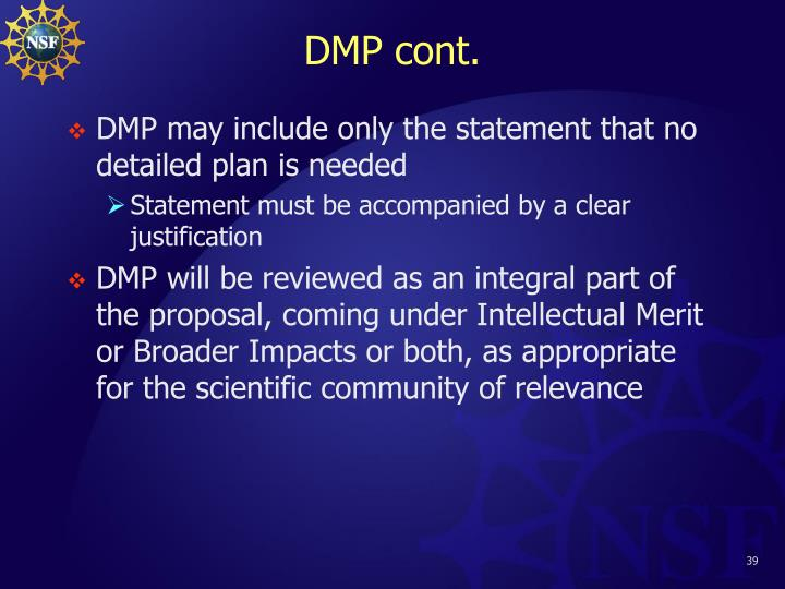 DMP cont.