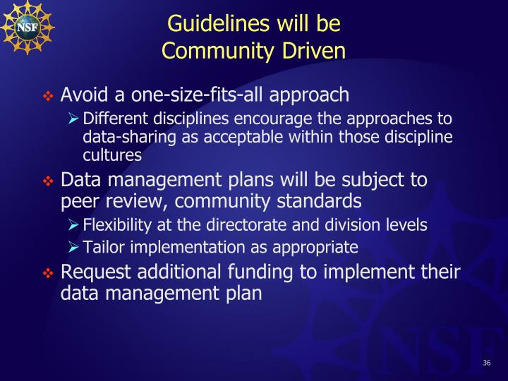 Guidelines will be