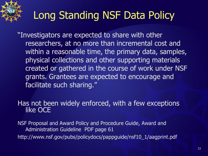 Long Standing NSF Data Policy