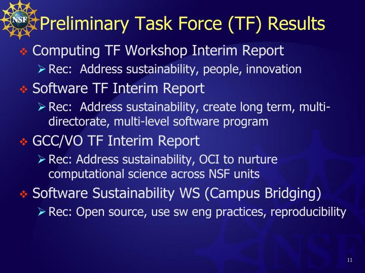 Preliminary Task Force (TF) Results