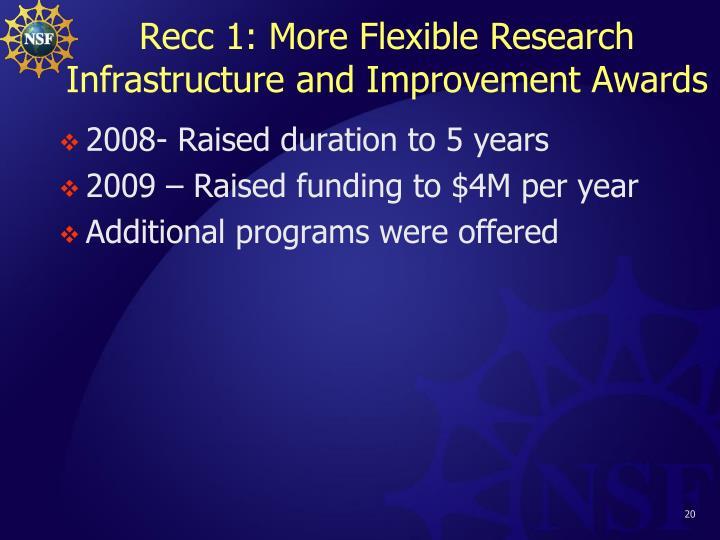 Recc 1: More Flexible Research